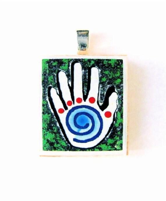 Healing Hand scrabble tile pendant