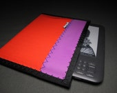 Neon Kindle Sleeve - Hot Red and Violet - Vegan