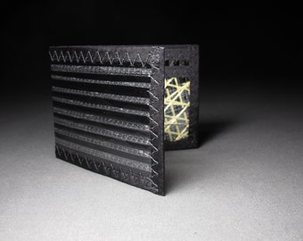 Wallet - Vegan Wallet - Mens Wallet - Carbon Fiber Wallet - Carbon Fiber and Kevlar Bifold ID - Black / Gold