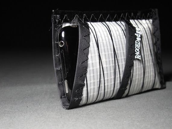 SALE - Sailcloth iPhone Wallet Sleeve - White Xply and Black - Vegan