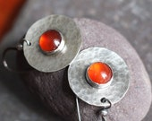 Autumn Sunset - Sterling and Orange Carnelian Earrings Handmade Oxidized