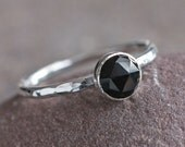 Plumeria Stack - Rose Cut Black Melanite Garnet and Sterling Silver Ring