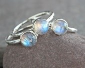Plumeria - Rose Cut Rainbow Moonstone and Sterling Silver Ring