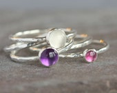 SPECIAL Handmade Sterling Silver Stack Rings with Amethyst Pink Tourmaline and White Moonstone Set Hammered Textured