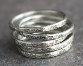 FIVE Simple Oxidized Hammered Sterling Silver Ring | Silver Stacking Band | Sterling Stacking Rings