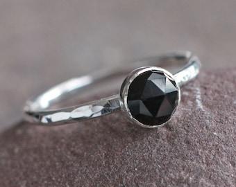 Plumeria Stack - Rose Cut Black Melanite Garnet and Sterling Silver Ring