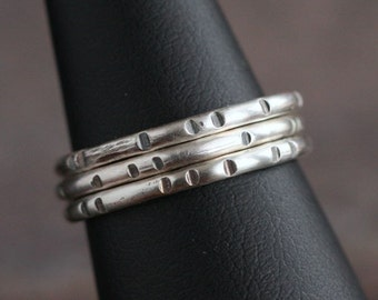 Little Joy - Simple Oxidized and Textured Sterling Silver Ring Band