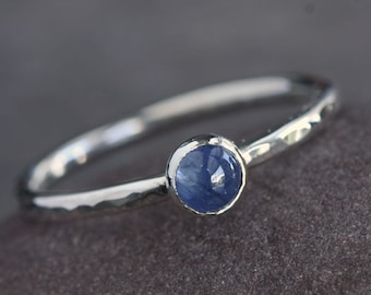 Plumeria - Blue Sapphire and Sterling Silver Ring