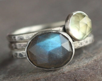 Uli - Handmade Faceted Blue Labradorite and Oxidized Sterling Silver Ring Stacking
