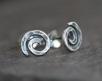 Curlies - Handmade Sterling Silver Swirl Post Earrings Oxidized