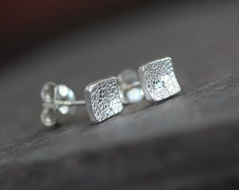 Square - Handmade Sterling Silver Textured Square Post Earrings Bright