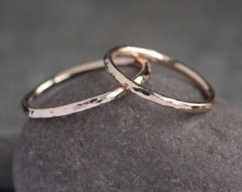 Lina - Handmade Solid 14k Rose Gold Ring | Wedding Band | Wedding Ring | Promise Ring | Gold Stacking Ring | Hammered Textured Size upto 12
