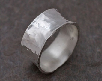 Pali Ring - Handmade Organic Sterling Silver Wide Band Ring