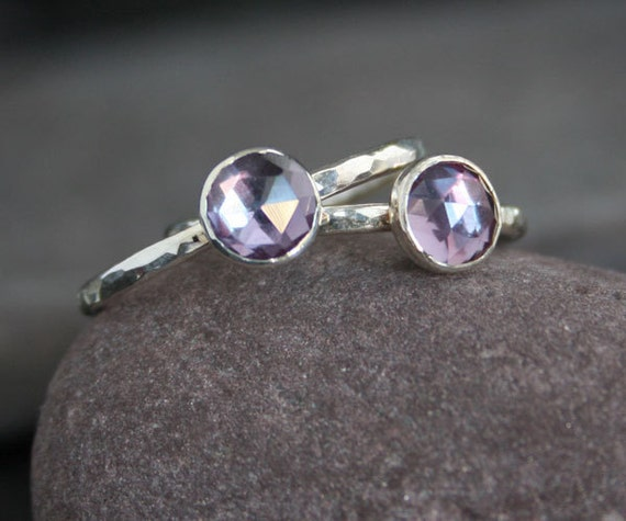 IN STOCK Plumeria - Handmade Rose Cut Alexandrite and Sterling Silver Ring Size 9