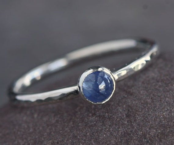 IN STOCK Plumeria - Blue Sapphire and Sterling Silver Ring Stackable Size 6