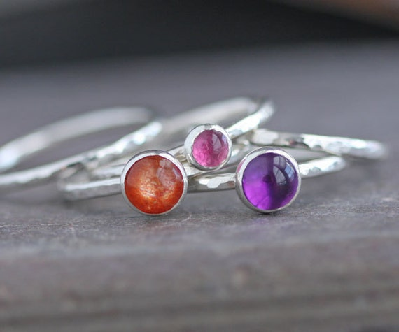 SPECIAL Handmade Sterling Silver Stack Rings with Amethyst Pink Tourmaline and Brilliant Sunstone