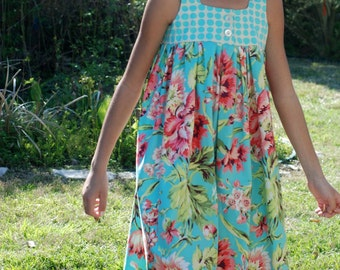 ShereesAtelier Aqua Floral and Dots Emma Dress...Size 10..Ready to ship