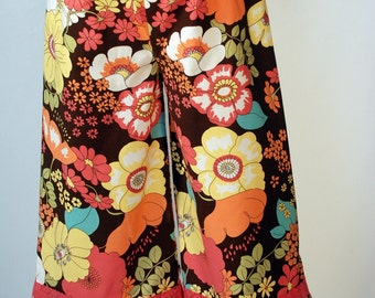 Brown City Blossoms Ruffle Pants with Lace Trim Custom Boutique 5/6