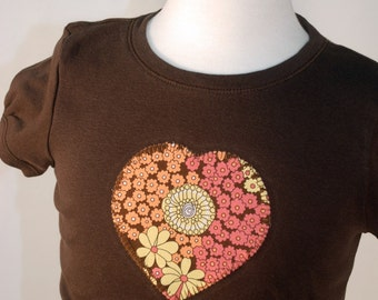 Brown City Blossoms Heart Tee T-shirt New Girls Medium Boutique Custom