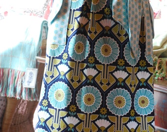 Mother's Day Handmade Retro Apron in Blue Modern Sunflowers Cotton Fabric by Shereesatelier