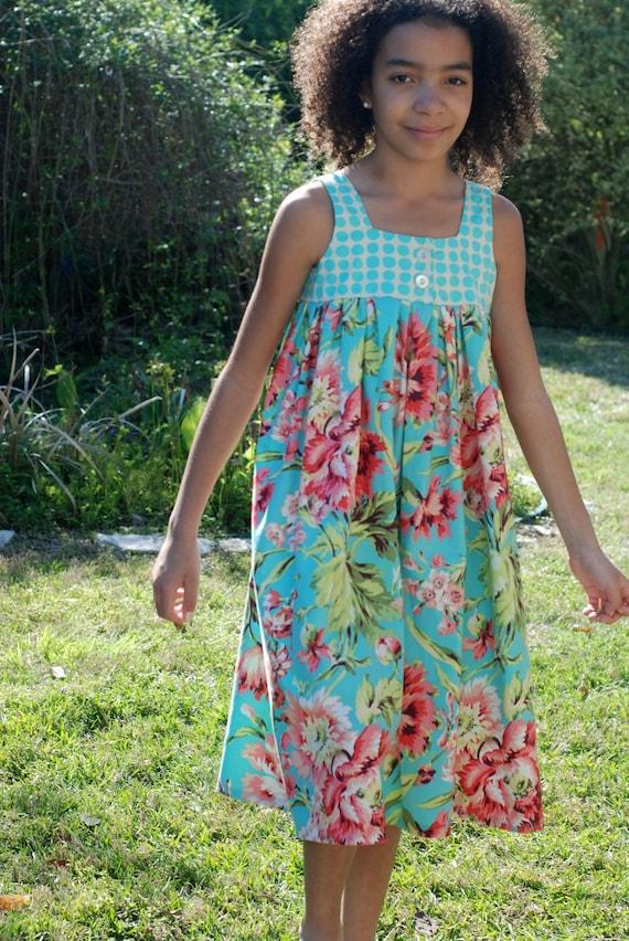ShereesAtelier Aqua Floral and Dots Emma Dress...Size 10..Ready to ship