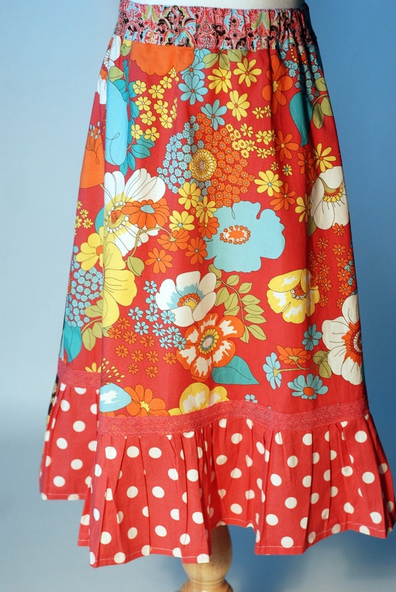City Blossoms Girl's A-Line Ruffle Twirl Skirt Size Medium 7 8 9 from ShereesAtelier Boutique Custom