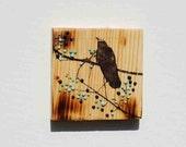 Black Bird Original Mixed Media Mini Painting Rustic