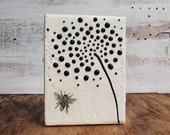 Bumble BEE Black & White FLOWER  Original Encaustic Painting