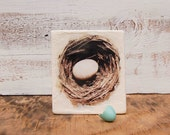 Original Encaustic Photo Painting. NEST Egg Nature Study Sepia