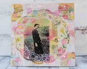 Annie's PINK Country LACE Original Mixed Media Collage Art Vintage Photograph Pink Yellow