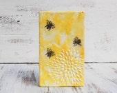 Bumble BEES & Sunshine Original Encaustic  Painting Yellow Sunshine White Dahlia Flower