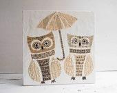 OWLS - Under my Umbrella Original Mixed Media Encaustic Painting