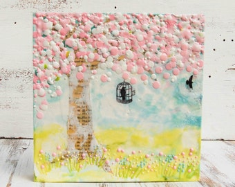 """Spring Cherry TREE Original Encaustic Painting Pink Flowers Tree Birdcage Bird Nursery Decor Girl's Room Decor 10""""x 10"""""""
