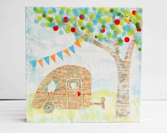 Happy CAMPER Original Encaustic Mixed Media Painting 10x10 Map Art Summer Camping Love