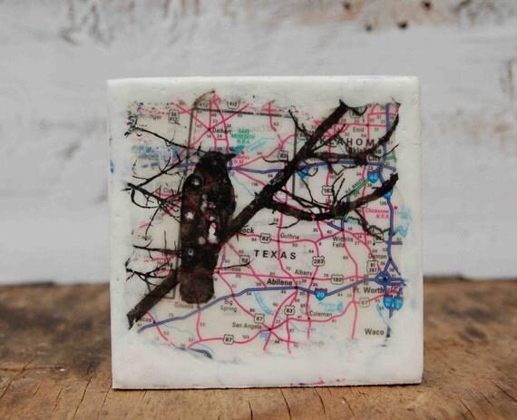 Gone to TEXAS - Original Encaustic Mini Map Painting
