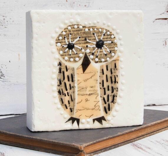 OWL Original Encaustic Mixed Media Painting Vintage Paper Art