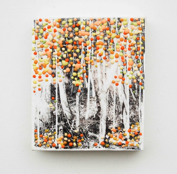 Autumn FOREST Original Encaustic Painting Trees