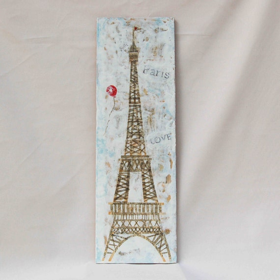 PARIS Love Original Encaustic Mixed Media Painting Eiffel Tower 33x10