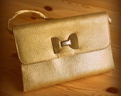 FREE SHIPPING 1960's jackie o. metallic gold bow evening purse