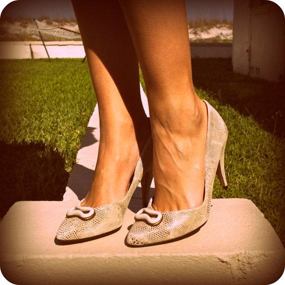 SALE vintage never worn mod snake skin leather heels