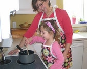 Carnival Bloom Mommy and Me (teen size) Full Apron Set - Reversible Aprons