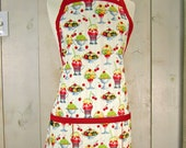 Ice Cream Sundae Adult  Apron - Reversible Apron, Full Apron, Apron with Pockets