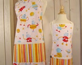 Robots Mommy and Me Apron Set - Young Adult/Teen Size -  Reversible Apron Set