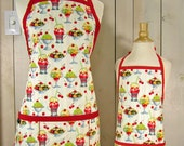 Ice Cream Social Mommy and Me Apron Set - Young Adult/Teen Size -  Reversible Apron Set - matching apron set