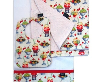 Ice Cream Social Receiving Blanket Set with Matching Bib and Burp Cloth