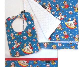 Rocket Rascals Receiving Blanket Set with Matching Bib and Burp Cloth