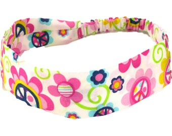 """Fabric Headband - Peace Daisy - Pick your size - fit toddlers to adults - 1-1/2"""" wide"""