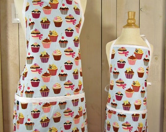 Cupcake Mommy and Me (kids size) Apron Set - Reversible aprons, matching aprons, mother daughter full aprons