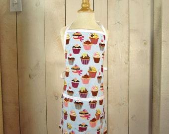 Cupcake Young Adult / Teen Apron - Reversible apron, full apron, kids apron