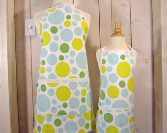 Dream Dot Mommy and Me Apron Set - Toddler Apron size - Reversible Apron Set